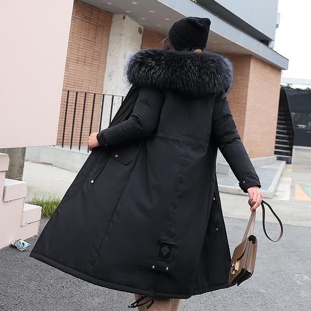 Hooded New Long Fur Collar Winter Jacket for Women