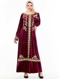 Image 3 - אלגנטי קטיפה שמלה מוסלמית נשים רקמת גדול נדנדה אונליין מקסי שמלת קימונו Jubah גלימת הדפסת העבאיה שמלות בגדים אסלאמיים