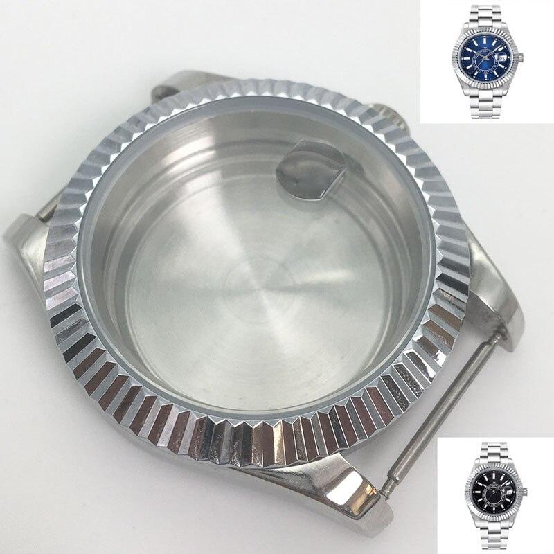 40mm relógio masculino acessórios safira vidro data