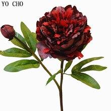 YO CHO flor Artificial flor peonía de seda arreglo Vintage gran peonía ramo de bricolaje fiesta en casa Prom Decoración de mesa de boda