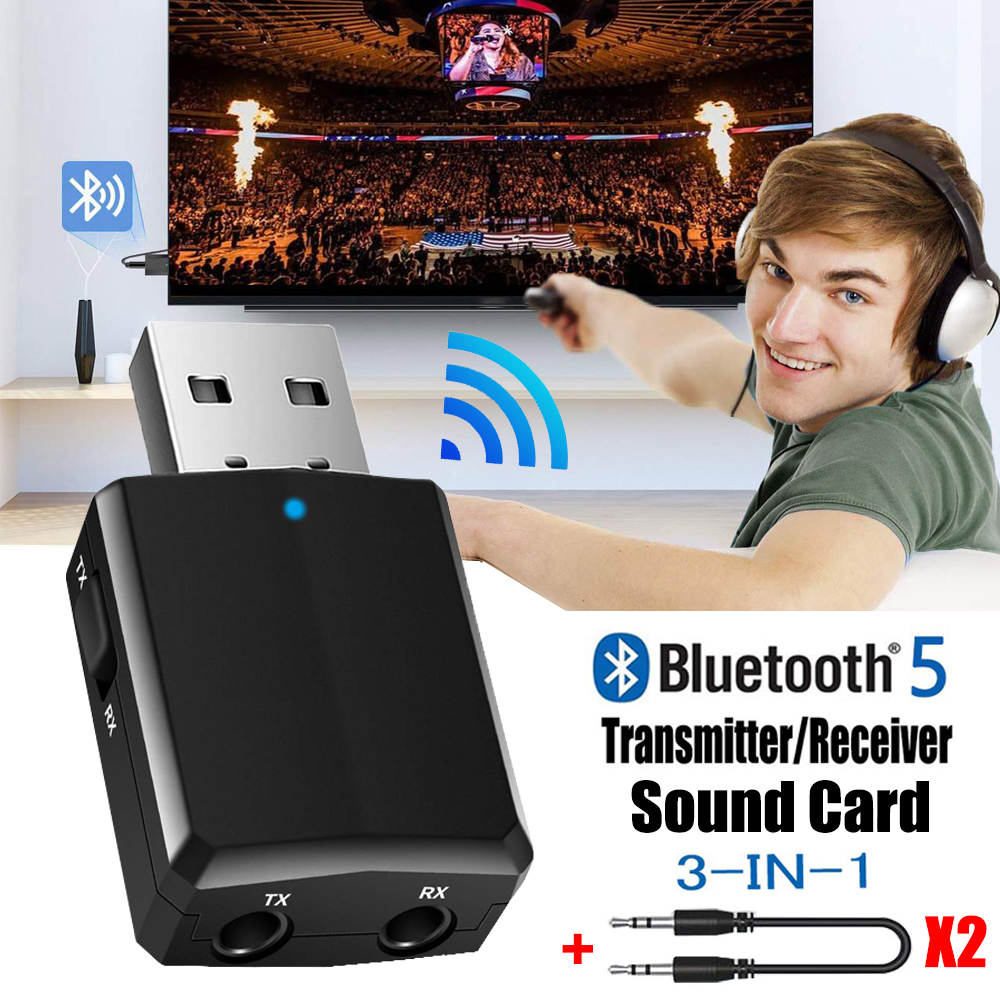 USB Bluetooth 5.0 Transmitter Receiver 3 in 1 EDR Adapter Dongle 3.5mm AUX for TV PC Headphones Home Stereo Car HIFI Audio 1