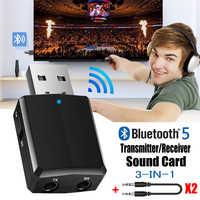 Receptor del transmisor USB Bluetooth 5,0 adaptador de EDR 3 en 1 Dongle 3,5mm AUX para los auriculares de la TV
