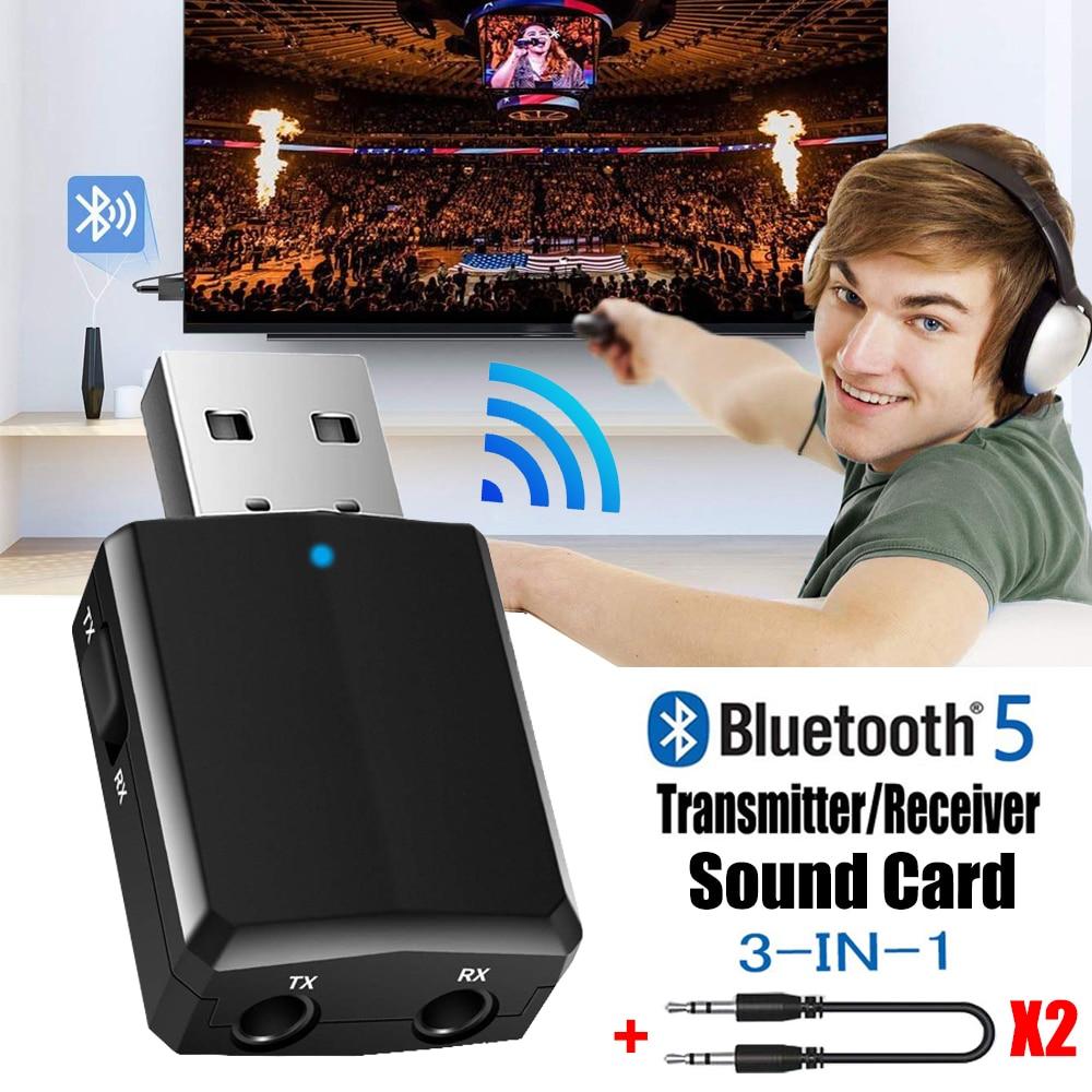 USB Bluetooth 5.0 משדר מקלט 3 ב 1 EDR מתאם Dongle 3.5mm AUX עבור טלוויזיה מחשב אוזניות בית סטריאו רכב HIFI אודיו