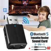 USB Bluetooth 5.0 émetteur récepteur 3 en 1 EDR adaptateur Dongle 3.5mm AUX pour TV PC casque maison stéréo voiture HIFI Audio