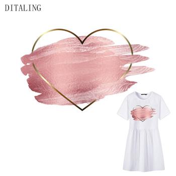 Różowe serce naszywki na odzież moda dziewczyny naklejki termiczne naprasowanki DIY kobiety T-Shirt topy a-level prasowanie naklejki tanie i dobre opinie DITALING CN (pochodzenie) As The Picture HANDMADE Przyjazne dla środowiska PRINTED Plastry Do przyprasowania Tak ( 50 sztuk)