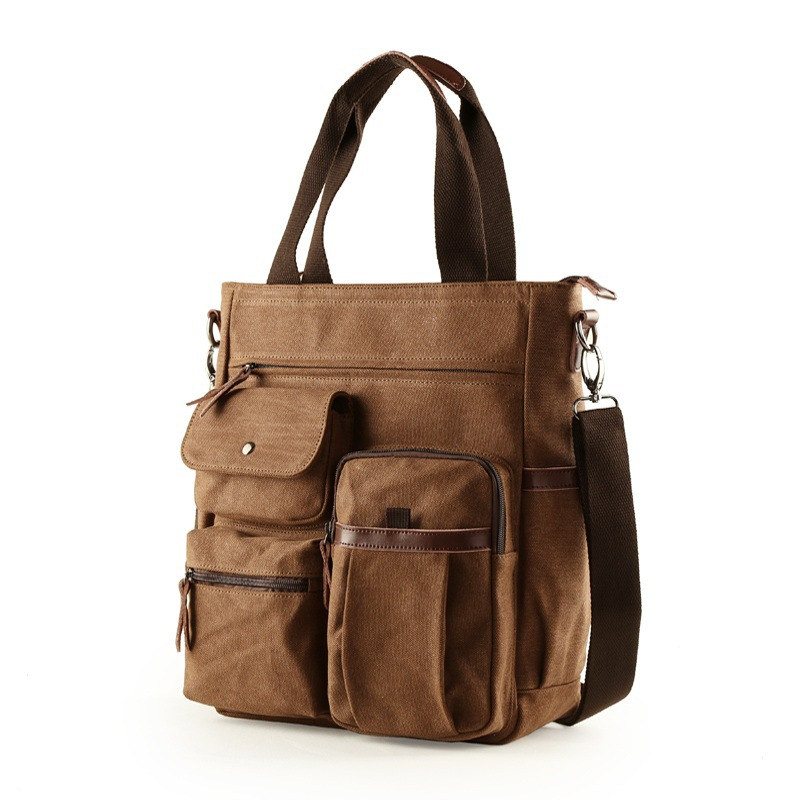 Hot Selling Korean-style Business Hand Canvas MEN'S Bag Verticle  Shoulder Bag Men's Briefcas Bag New Style