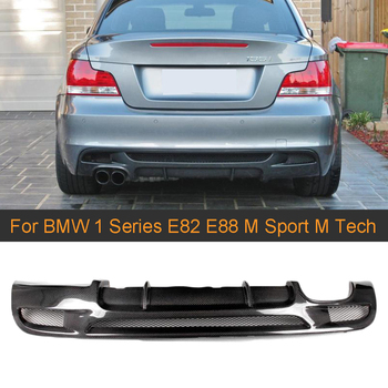 1 Series Carbon Fiber Car Rear Bumper Diffuser Lip Spoiler for BMW E82 E88 M Sport 2 Door Only 07-13 Convertible Non Hatchback image