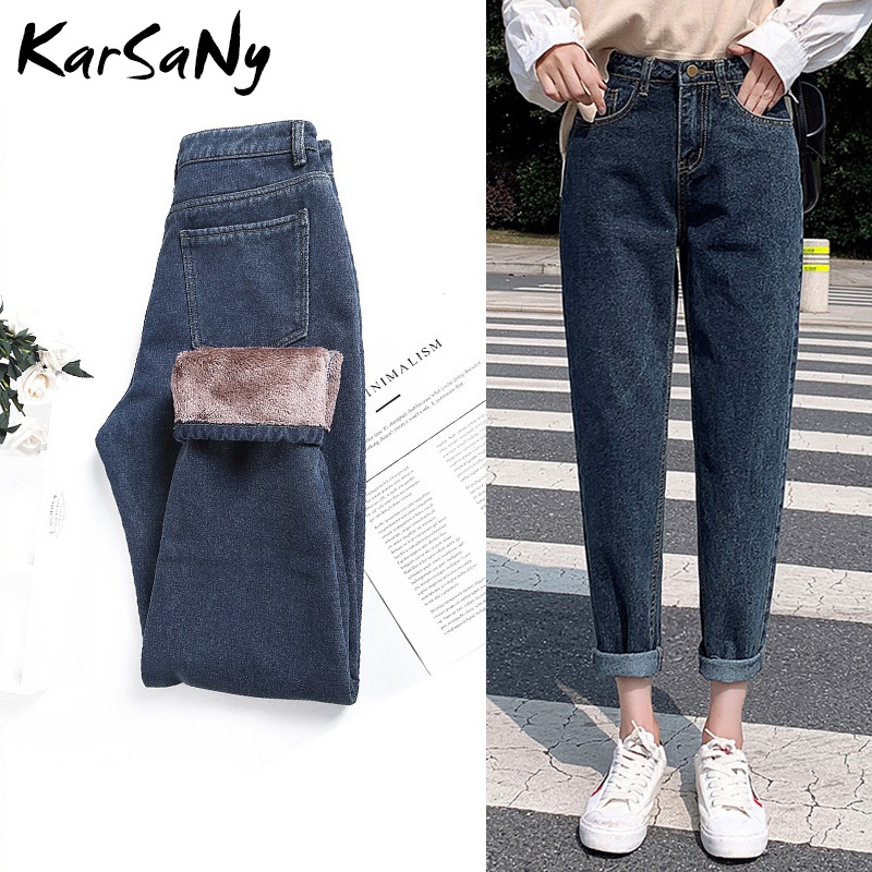 KarSaNy High Waist Winter Jeans Women 2019 Boyfriend Warm Thick Harem Denim Pants Women's Jeans Fleece Lined Jean Femme Winter
