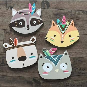 Cute Cartoon Children Nursery Room Wall Sticker Fox Bear Cat Print Tribal Indian For Kids Baby Poster