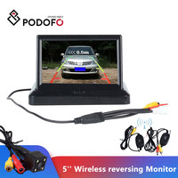 Podofo Wireless 5 Foldable Color LCD TFT Rear View Monitor Screen & Night Vision Rearview Backup Camera For Vehicle Car Bus