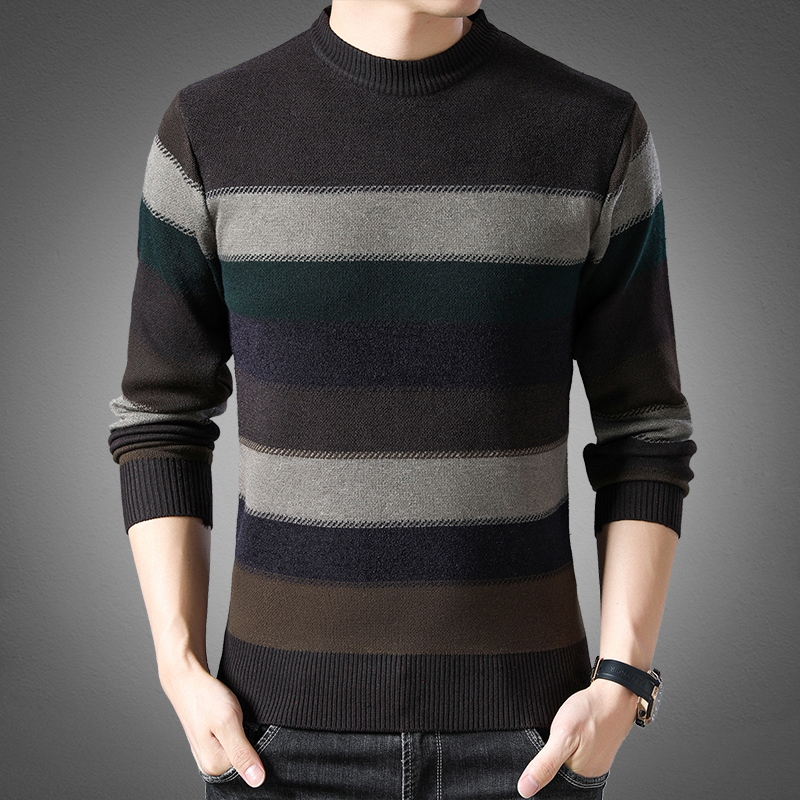 2019 New Fashion Brand Sweater Mens Pullover Striped Slim Fit Jumpers Knitting Patterns Autumn Korean Style Casual Clothing Men