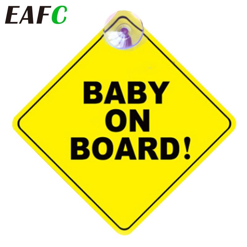 Pegatina de coche para bebé a bordo, pegatina de señal de alerta de seguridad con ventosa para ventana de vehículo de coche, accesorios de coche, estilo