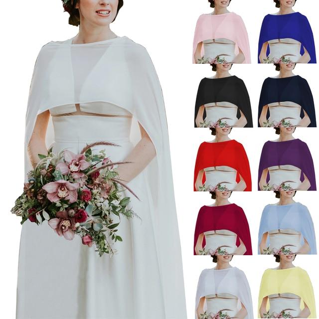 $ US $15.60 Wedding Bridal Chiffon Long Cape Dinner Party Formal Lady Cloak O-neck Prom Women Shawl Elegant High-low Wrap Ivory 11 Colors