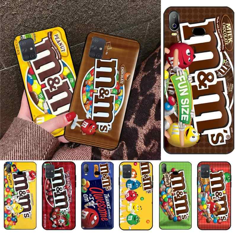 Penghuwan m & ms のチョコレートボックス黒 tpu ソフトゴムサムスン A10 A20 A30 A40 A50 A70 a71 A51 A6 A8 2018