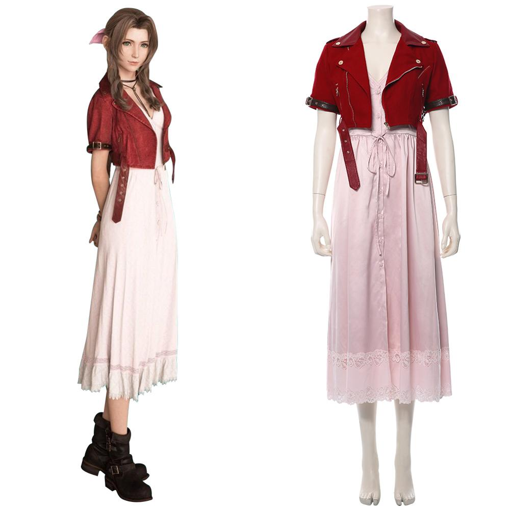 FF 7 Final Fantasy VII Aerith Gainsborough Cosplay Costume Adult women girls dress Halloween Carnival Coostumes image