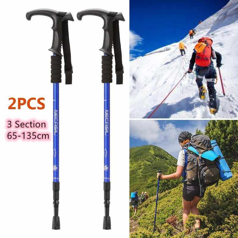 3-Section Telescopic Camping Trekking Walking Hiking Stick Soft Pole Antishock