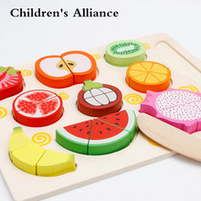 Baby Wooden toys Pretend Play kitchen toys cutting Fruit and Vegetable education food toys for kid Mother garden childre цена