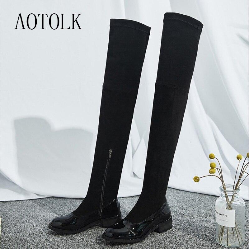 Femmes bottes hautes sur le genou marque chaussures d'hiver femme bottes noir miroir Zip bout rond femmes chaussures chaussures décontractées DE