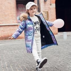 فتاة الباردة سترة شتوية الأطفال الدافئة كبيرة الفراء الحقيقي طوق أسفل سترات معطف طفل في سن المراهقة سماكة مقنعين ملابس خارجية