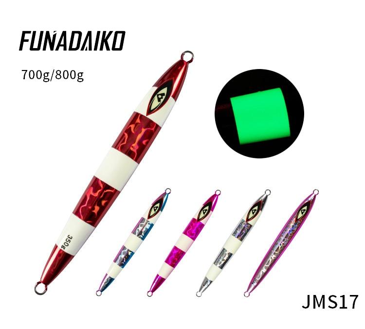 Funadaiko isca de pesca artificial jig metal jig lure lento jigging iscas colher iscas de pesca jig 250g 350g 450g 700g 800g