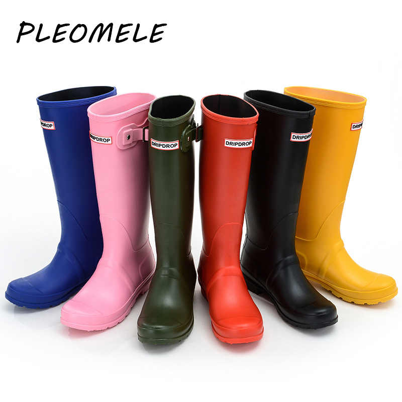 Kadın su geçirmez sarı yağmur çizmeleri kadın diz-yüksek moda kadınlar kauçuk yağmur çizmeleri kızlar ayakkabı yağmur botları PVC yağmur ayakkabıları