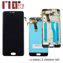 "IPS LCD Display For Meilan 5 LCD For MEIZU M5 M611A M611H 5.2"" Touch Screen Digitizer Assembly Black No/with Frame Replacement(China)"