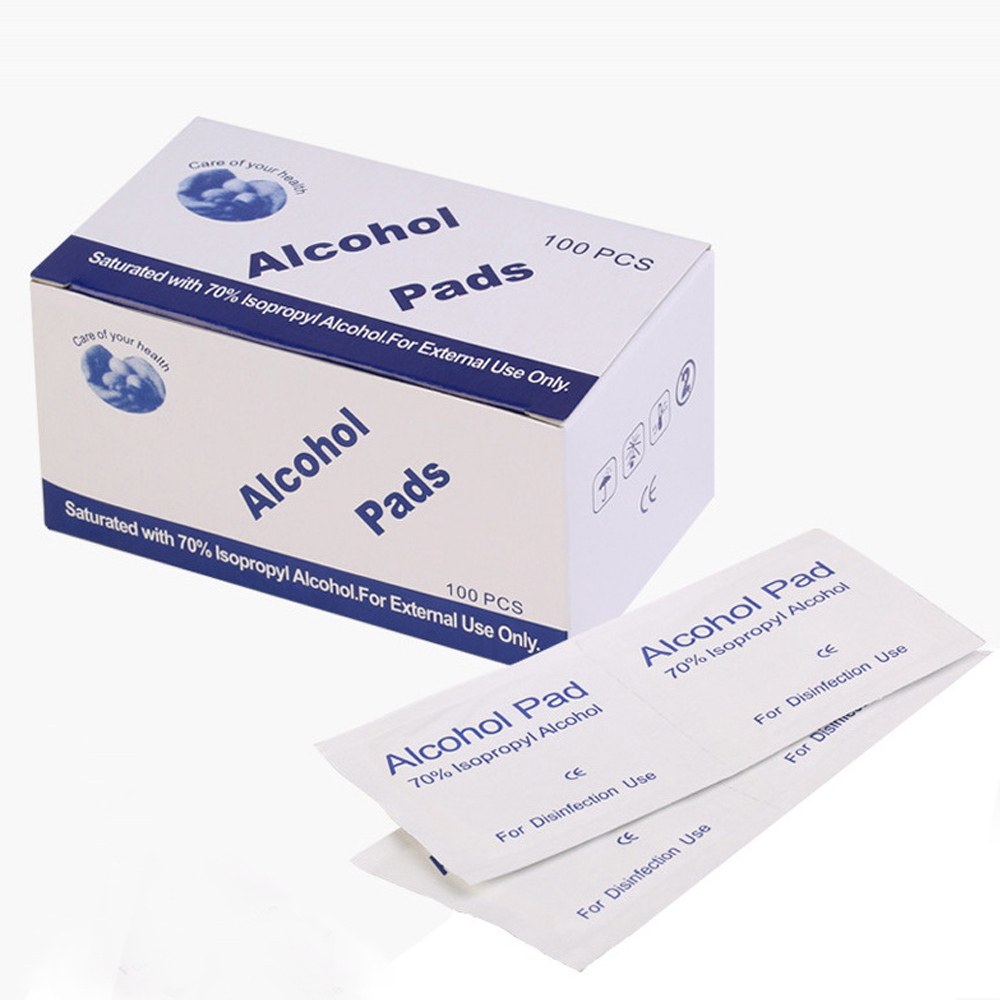 100pcs Antiphlogosis Isopropyl Alcohol Swab Pads Piece Wipe Antiseptic Skin Cleaning Care First Aid