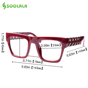 Image 5 - SOOLALA Square Oversized Reading Glasses Women Men Special Arms Clear Lens Presbyopia Computer Reading Glasses 0.5 to 5.0