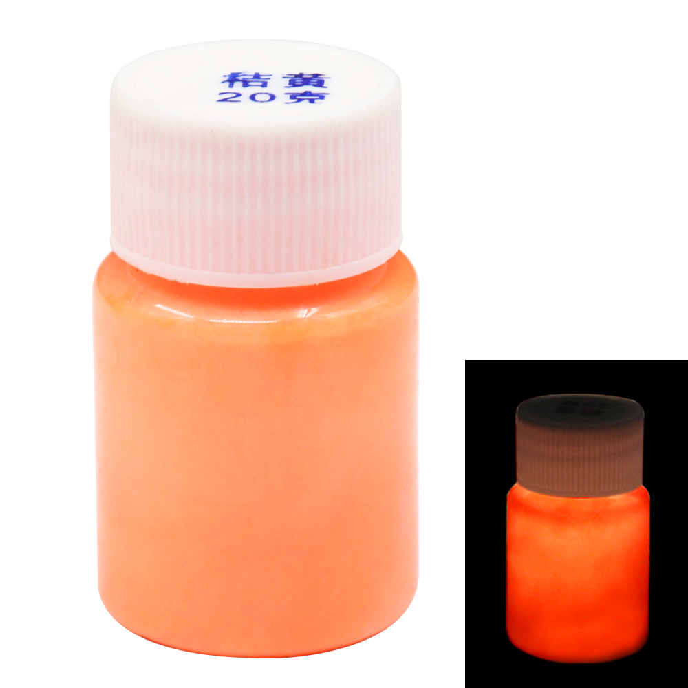 20g Orange Glow In The Dark Fluorescent Paint For Party Nail Decoration Art Supplies Phosphor Pigment Acrylic Luminous Paint