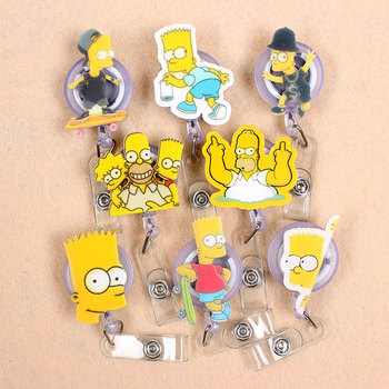 Creative 60cm Funny Simpson Identity Retractable Badge Reel Student Nurse Exhibition 1