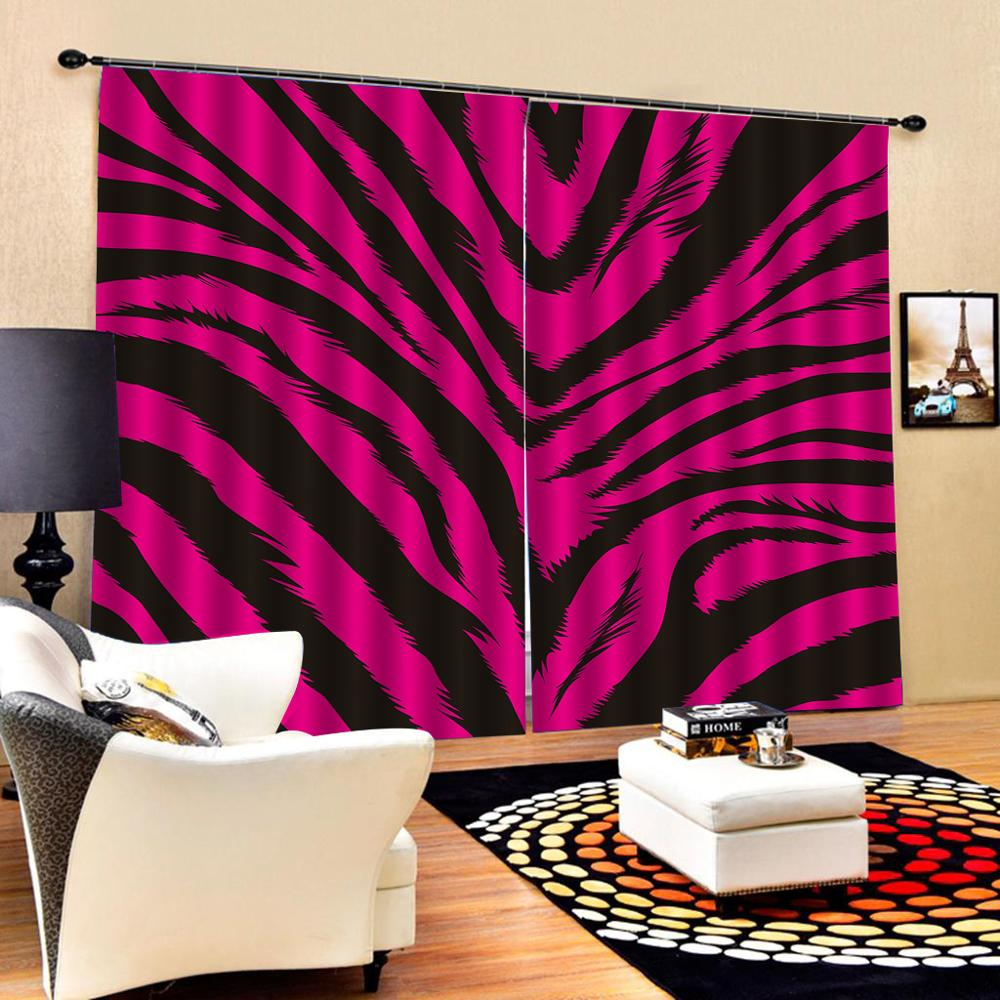 Blackout curtain Customized size Luxury Blackout 3D Window Curtains For Living Room rose red tiger curtains