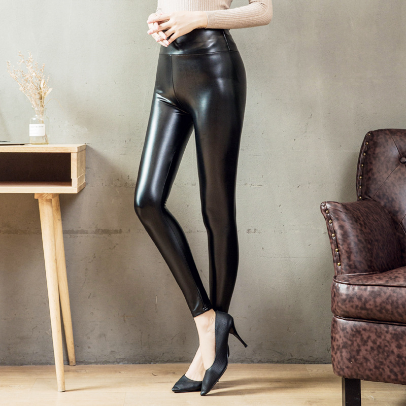 S-5XL Plus Size Leather Leggings Women High Waist Leggings Stretch Slim Black Legging Fashion PU Leather Fleece Pants Women