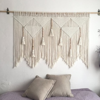 Macrame Tapestry Woven Boho Decor  Macrame Wall Hanging  Bohemian Room Geometric Art Tapestries Decor Gift Dorm Room Decora braided leaf macrame woven tapestry wind chimes bohemian room decor wall hanging art beautiful apartment dorm room decoration