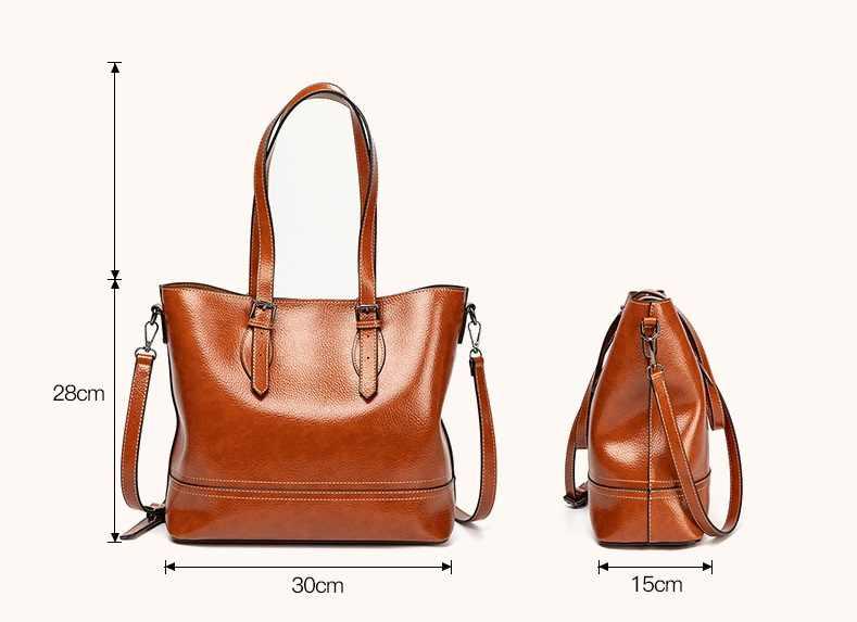 Bolso de mano de cuero genuino para mujer de alta capacidad bolso Retro Simple para mujer elegante bolso Shopper clásico 2019 C1005