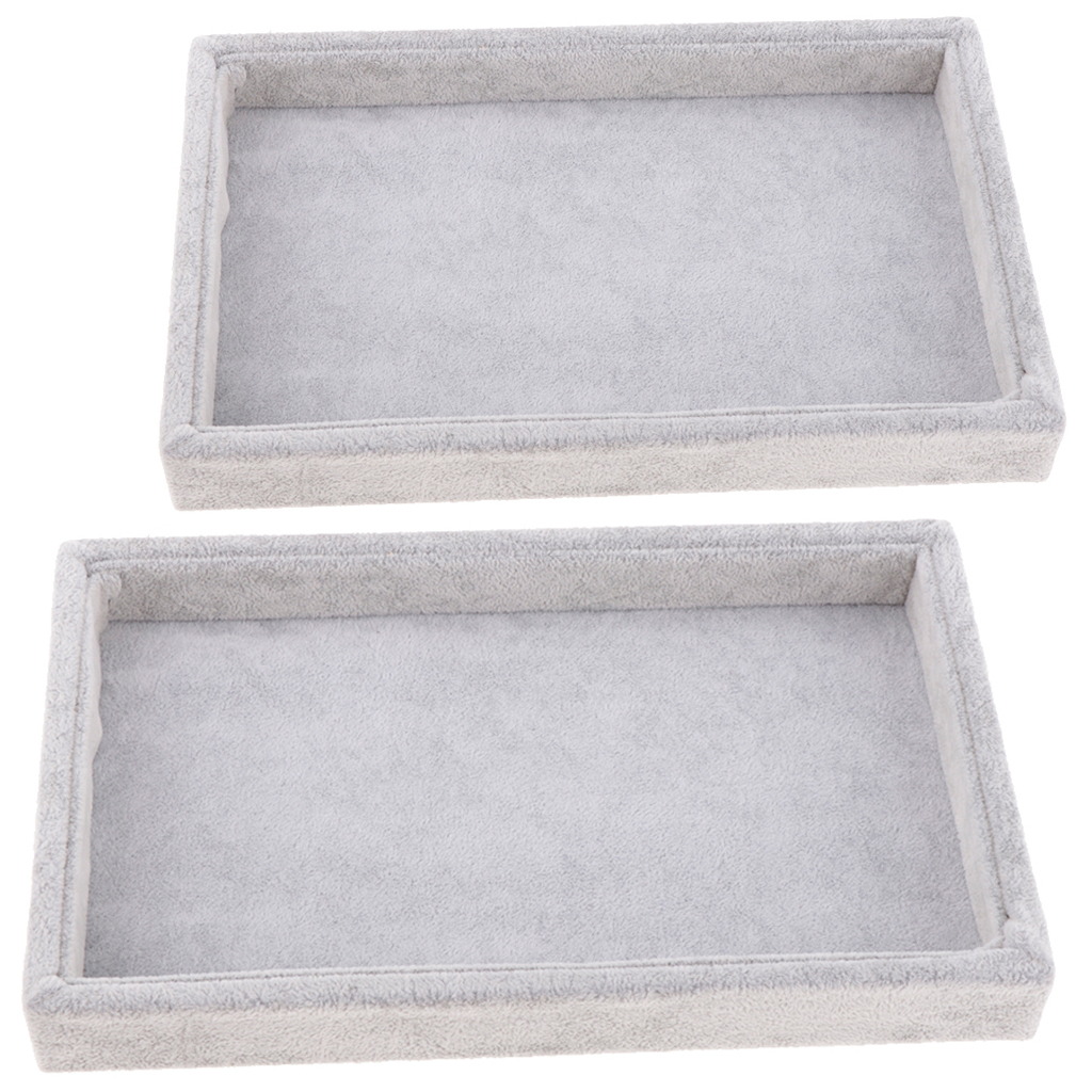 2 Pcs Stackable Jewelry Organizer Trays Muti-use Jewelry Storage Holder Display Case For Drawer Or Dresser, Grey