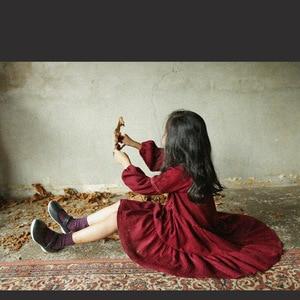 Image 4 - 2019 العلامة التجارية الجديدة الفتيات فستان الربيع فستان طفل طفلة فستان الأميرة فانوس القطن الكتان طفل التطريز فستان الدانتيل ، #3655