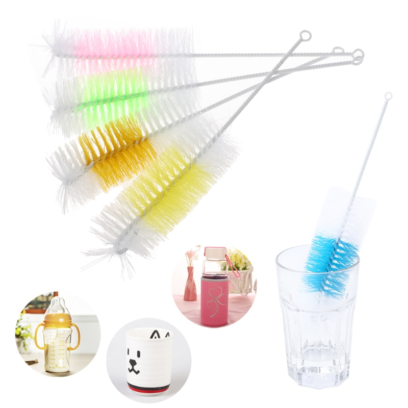 360 Degree Cleaner Baby Nipple Bottle Brush 30cm Nylon Milk Bottle Kitchen Cleaning Brushes For Many Colors