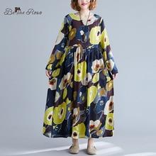 BelineRosa 2019 Autumn Cotton Linen Dresses Elegant Ladies Plus Size Dress Floral Printed Long Sleeve for Women ZZDM0006