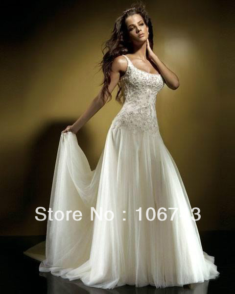 2016 Hot Sale Wedding Dresses Dress Free Shipping New White/ivory Bride Gown Wedding Dresses Custom Size Sweep Train Lace Neck
