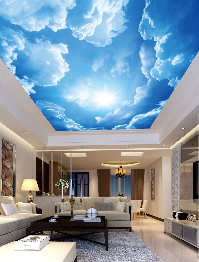 Ceiling Wall Mural Wallpaper For Walls Dreamy Beautiful Sky Blue