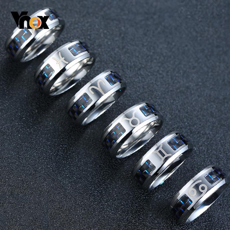 Vnox Twelve Constellations Rings for Men Women 8mm Stainless Steel Anel Male Classic Carbon Fiber 12 Horoscope Ring