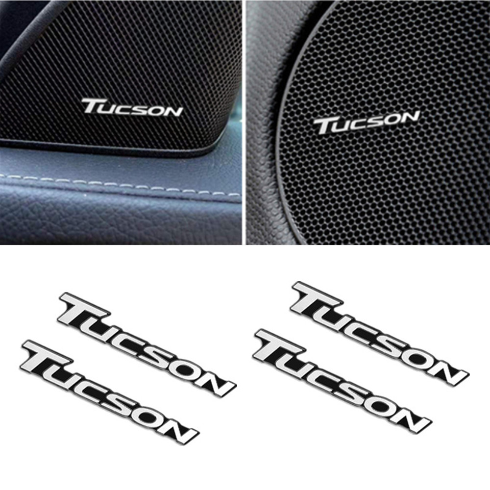 4pcs 3D Aluminum Badge Emblem Sticker For Hyundai Tucson 2017 2018 Accessories Car Styling Car Audio Decorate