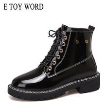 Buy E TOY WORD Martin boots 2019 new autumn women boots shoes British wind thick bottom lace up ankle boots motorcycle boots directly from merchant!