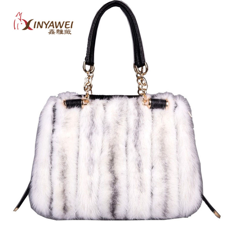 2019 Fashion High-end Ladies Real Mink Fur Bag Leather Design Bag Leather Large Capacity Bag Fashion Ladies Warm Bag.