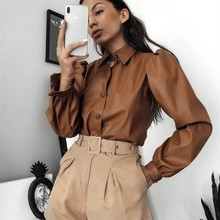 NORMOV Cortex Shirts Women Solid Bubble Long Sleeve Button Turn Down Collar Woma
