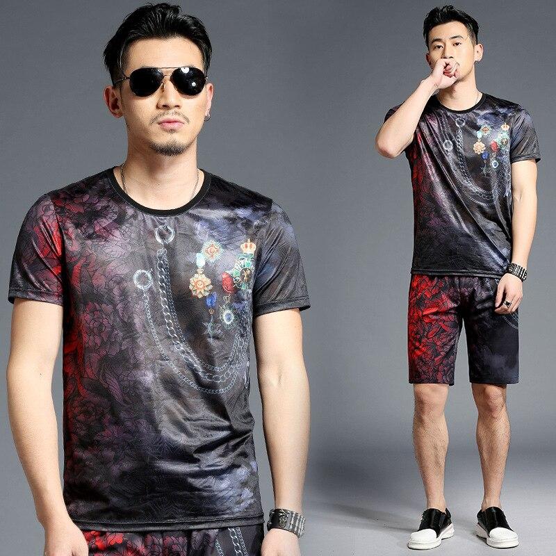 Tao Bai Ye Summer Men's Sports Leisure Suit Short Shorts Fashion T-shirt Tops Two-Piece Set T15010/K5010