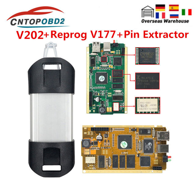 For Renault Can Clip Full Chip V202 With CYPRESS AN2135SC 2136SC Gold PCB Can Clip Car Diagnostic Tool For 1998 2019 Reprog V175