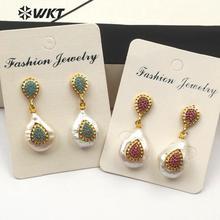 WT-ME069 WKT Natural Pearl & Cubic Zirconia Water Drop Shape Earrings Blue Pink Green Color CZ Women Fashion Pearl Earrings