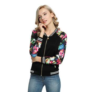 Spring Crop Jacket Women Bomber Jackets Ladies Casual Patchwork Baseball O-neck Tops Long Sleeves Coat Female Autumn Fashion New