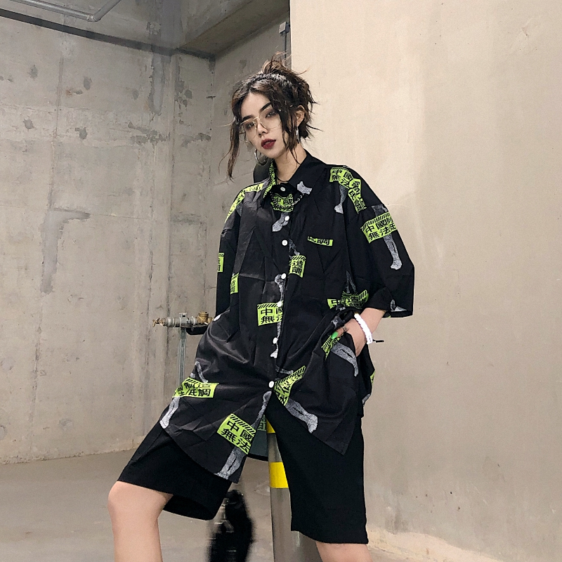 Mr nut shirt female Harajuku style hip hop Chinese printing personality loose female sleeve shirt long casual bottoming shirt in Blouses amp Shirts from Women 39 s Clothing